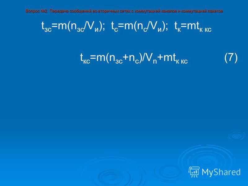 Вопрос 2. Передача сообщений во вторичных сетях с коммутацией каналов и коммутацией пакетов t зс =m(n зс /V и ); t с =m(n с /V и ); t к =mt к кс t кс =m(n зс +n с )/V n +mt к кс (7)