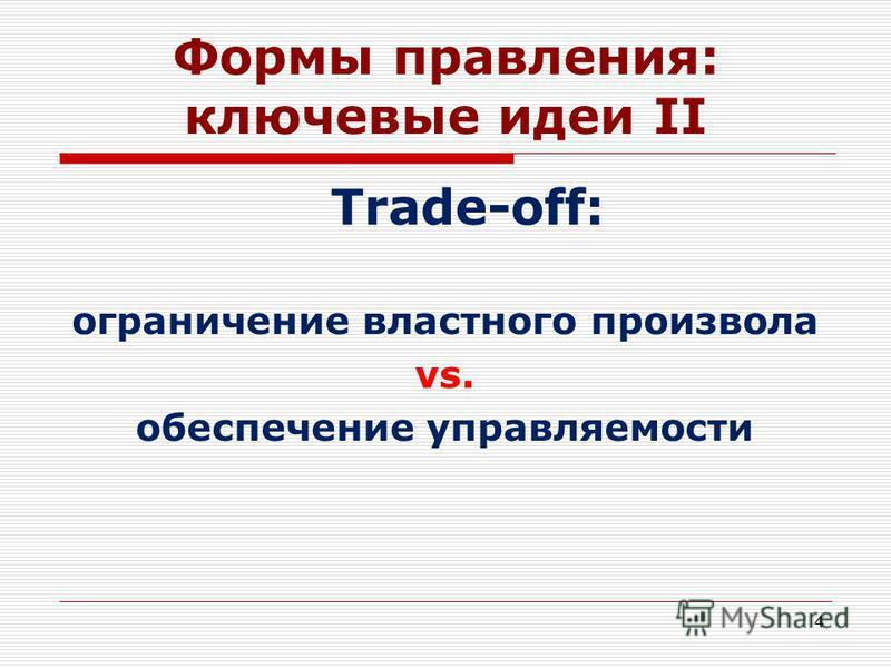 Формы правления: ключевые идеи II Trade-off: ограничение властного произвола vs. обеспечение управляемости 4