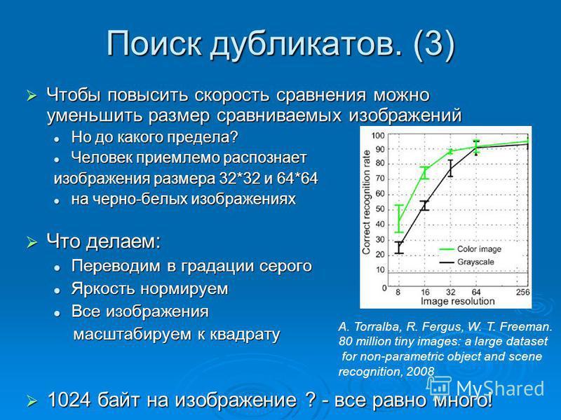 Поиск дубликатов. (3) Чтобы повысить скорость сравнения можно уменьшить размер сравниваемых изображений Чтобы повысить скорость сравнения можно уменьшить размер сравниваемых изображений Но до какого предела? Но до какого предела? Человек приемлемо ра