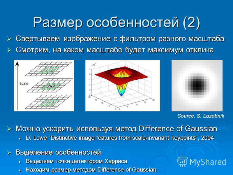 Размер особенностей (2) Свертываем изображение с фильтром разного масштаба Свертываем изображение с фильтром разного масштаба Смотрим, на каком масштабе будет максимум отклика Смотрим, на каком масштабе будет максимум отклика Можно ускорить используя