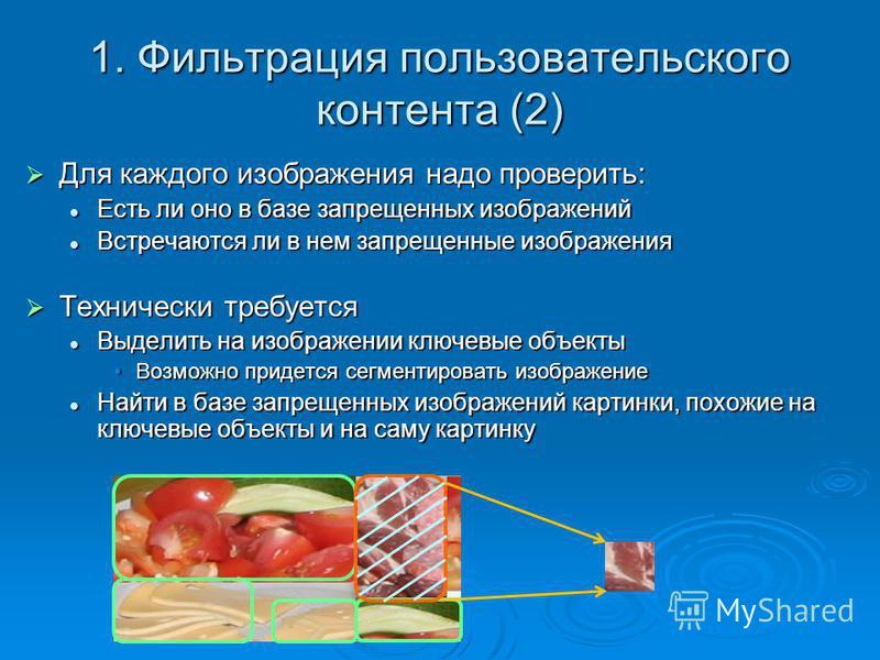 1. Фильтрация пользовательского контента (2) Для каждого изображения надо проверить: Для каждого изображения надо проверить: Есть ли оно в базе запрещенных изображений Есть ли оно в базе запрещенных изображений Встречаются ли в нем запрещенные изобра