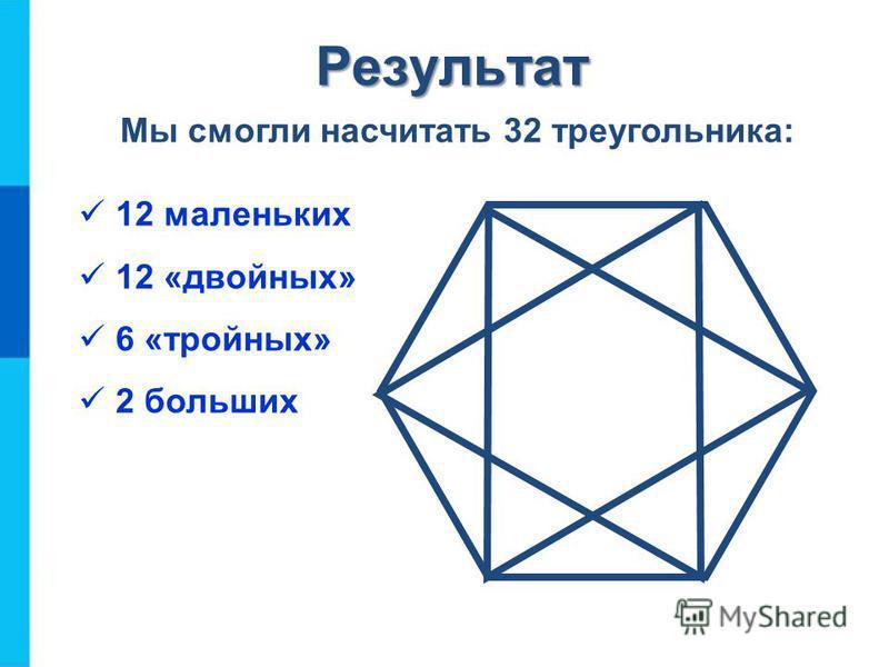 А теперь не забудем про самые большие: 2 больших треугольника Решение задачи