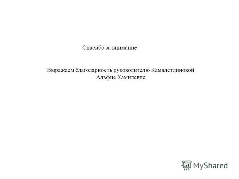Спасибо за внимание Выражаем благодарность руководителю Камалетдиновой Альфие Камилевне