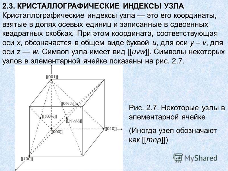 2.3. КРИСТАЛЛОГРАФИЧЕСКИЕ ИНДЕКСЫ УЗЛА Кристаллографические индексы узла это его координаты, взятые в долях осевых единиц и записанные в сдвоенных квадратных скобках. При этом координата, соответствующая оси x, обозначается в общем виде буквой u, для