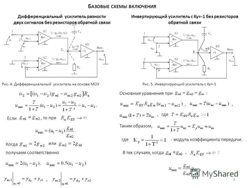 Б АЗОВЫЕ СХЕМЫ ВКЛЮЧЕНИЯ Дифференциальный усилитель разности двух сигналов без резисторов обратной связи Если, то при Когда или получаем соответственно, Рис. 4. Дифференциальный усилитель на основе МОУ Инвертирующий усилитель с Ky=-1 без резисторов о