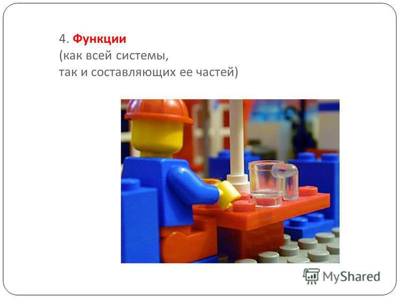 4. Функции ( как всей системы, так и составляющих ее частей )
