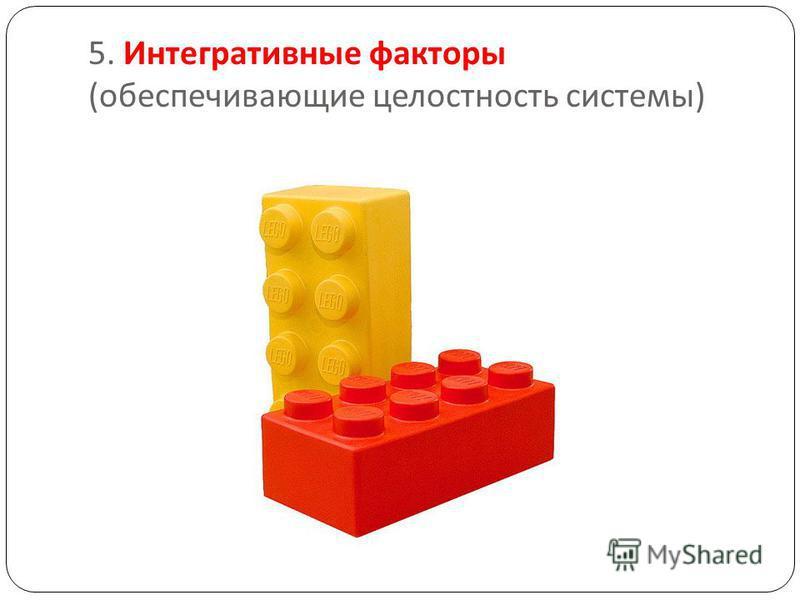 5. Интегративные факторы ( обеспечивающие целостность системы )