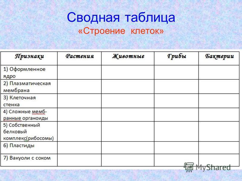 Сводная таблица «Строение клеток»