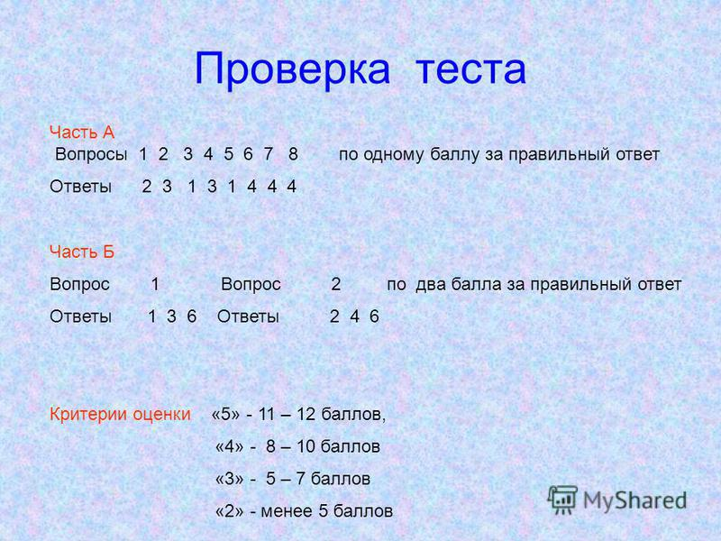 Проверка теста Часть А Вопросы 1 2 3 4 5 6 7 8 по одному баллу за правильный ответ Ответы 2 3 1 3 1 4 4 4 Часть Б Вопрос 1 Вопрос 2 по два балла за правильный ответ Ответы 1 3 6 Ответы 2 4 6 Критерии оценки «5» - 11 – 12 баллов, «4» - 8 – 10 баллов «