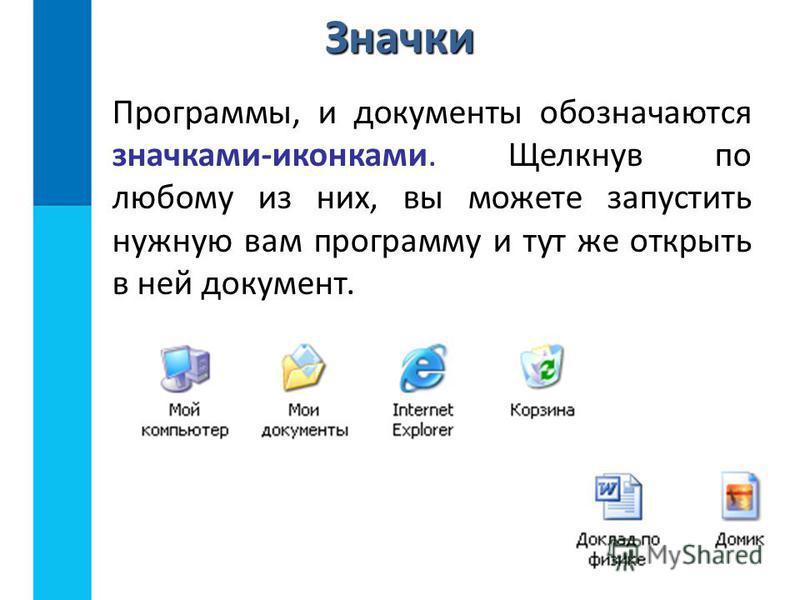 Значки Программы, и документы обозначаются значками-иконками. Щелкнув по любому из них, вы можете запустить нужную вам программу и тут же открыть в ней документ.