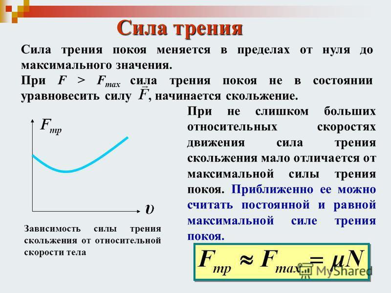 Сила трения Сила трения покоя меняется в пределах от нуля до максимального значения. При F > F max сила трения покоя не в состоянии уравновесить силу, начинается скольжение. Зависимость силы трения скольжения от относительной скорости тела При не сли