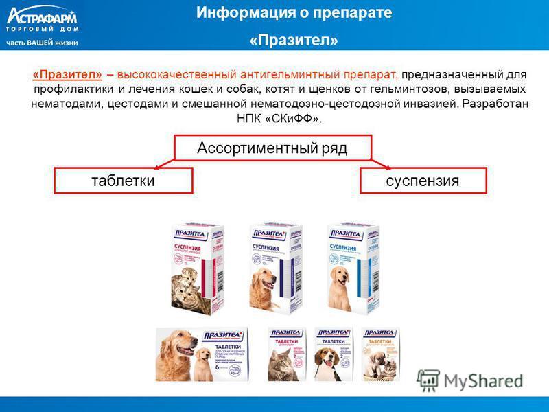 Информация о препарате «Празител» «Празител» – высококачественный антигельминтный препарат, предназначенный для профилактики и лечения кошек и собак, котят и щенков от гельминтозов, вызываемых нематодами, цестодами и смешанной нематодозно-цестодозной