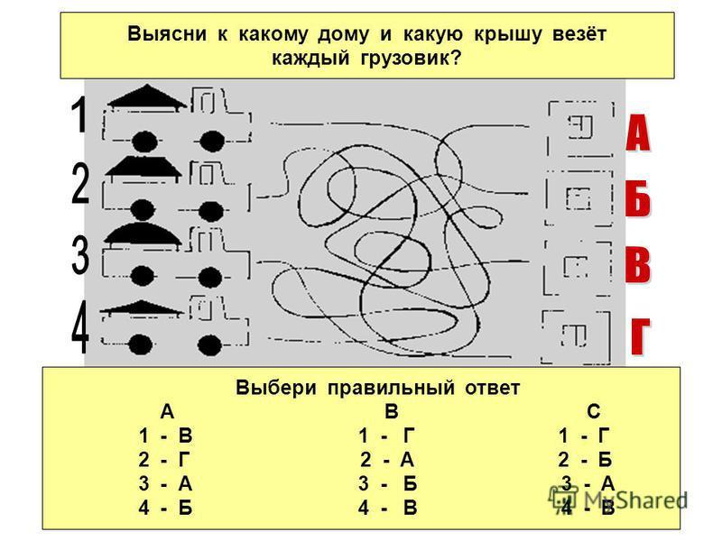 Выясни к какому дому и какую крышу везёт каждый грузовик? Выбери правильный ответ А В С 1 - В 1 - Г 1 - Г 2 - Г 2 - А 2 - Б 3 - А 3 - Б 3 - А 4 - Б 4 - В 4 - В