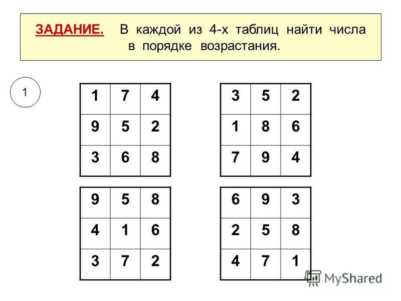 ЗАДАНИЕ. В каждой из 4-х таблиц найти числа в порядке возрастания. 693 258 471 352 186 794 958 416 372 174 952 368 1