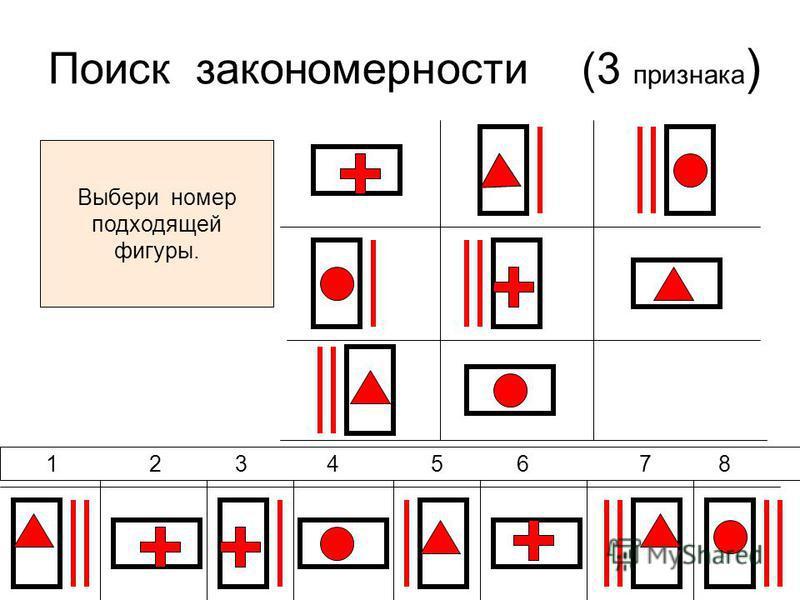 Поиск закономерности (3 признака ) 1 2 3 4 5 6 7 8 Выбери номер подходящей фигуры.