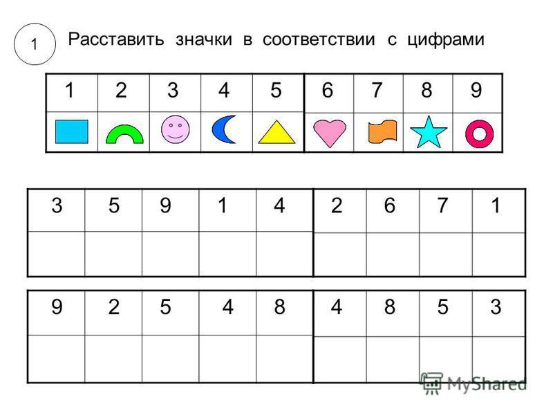 6 7 8 9 1 2 3 4 5 3 5 9 1 4 2 6 7 1 9 2 5 4 8 4 8 5 3 Расставить значки в соответствии с цифрами 1
