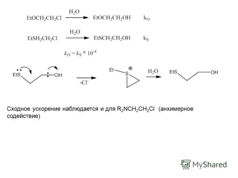 Сходное ускорение наблюдается и для R 2 NCH 2 CH 2 Cl (анхимерное содействие)