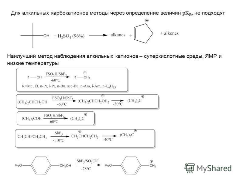Для алкильных карбкатионов методы через определение величин pK R+ не подходят Наилучший метод наблюдения алкильных катионов – супер кислотные среды, ЯМР и низкие температуры