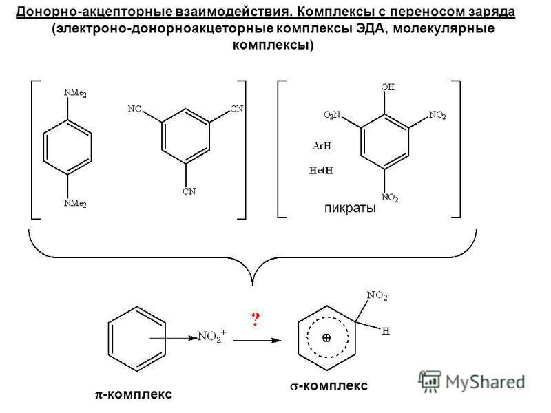 пикраты -комплекс Донорно-акцепторные взаимодействия. Комплексы с переносом заряда (электрона-донорно-акцепторные комплексы ЭДА, молекулярные комплексы)