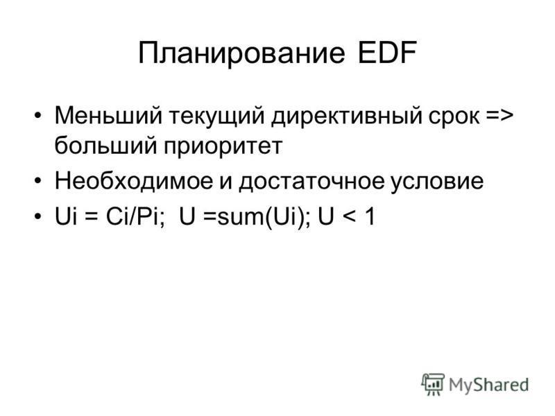 Планирование EDF Меньший текущий директивный срок => больший приоритет Необходимое и достаточное условие Ui = Ci/Pi; U =sum(Ui); U < 1