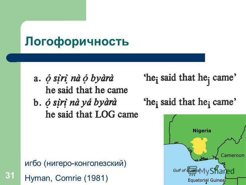 31 Логофоричность игбо (нигеро-конголезский) Hyman, Comrie (1981)