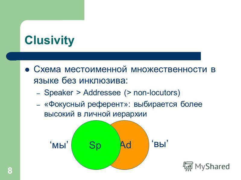 8 Ad Clusivity Схема местоименной множественности в языке без инклюзива: – Speaker > Addressee (> non-locutors) – «Фокусный референт»: выбирается более высокий в личной иерархии Sp мы вы