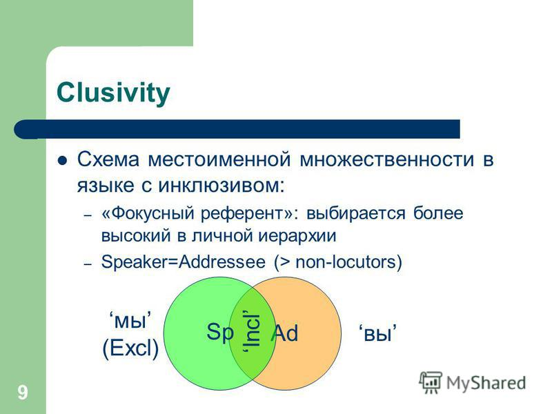 9 Ad Clusivity Схема местоименной множественности в языке с инклюзивом: – «Фокусный референт»: выбирается более высокий в личной иерархии – Speaker=Addressee (> non-locutors) Sp мы (Excl) вы Incl