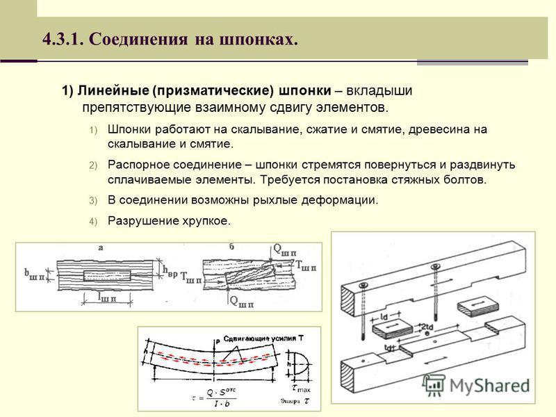 4.3.1. Соединения на шпонках. 1) Линейные (призматические) шпонки – вкладыши препятствующие взаимному сдвигу элементов. 1) Шпонки работают на скалывание, сжатие и смятие, древесина на скалывание и смятие. 2) Распорное соединение – шпонки стремятся по