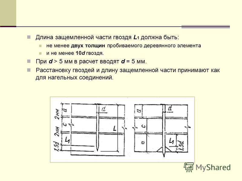 Длина защемленной части гвоздя L 1 должна быть: не менее двух толщин пробиваемого деревянного элемента и не менее 10d гвоздя. При d > 5 мм в расчет вводят d = 5 мм. Расстановку гвоздей и длину защемленной части принимают как для нагельных соединений.