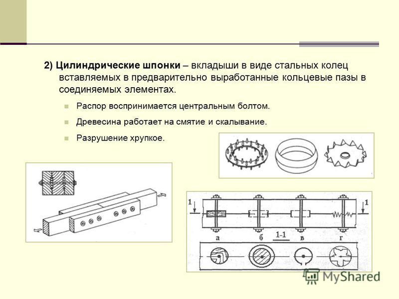 2) Цилиндрические шпонки – вкладыши в виде стальных колец вставляемых в предварительно выработанные кольцевые пазы в соединяемых элементах. Распор воспринимается центральным болтом. Древесина работает на смятие и скалывание. Разрушение хрупкое.