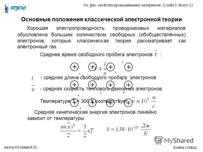 Основные положения классической электронной теории Средняя кинетическая энергия электронов линейно зависит от температуры Температуре Т = 300 К соответствует - средняя скорость теплового движения электронов l - средняя длина свободного пробега электр