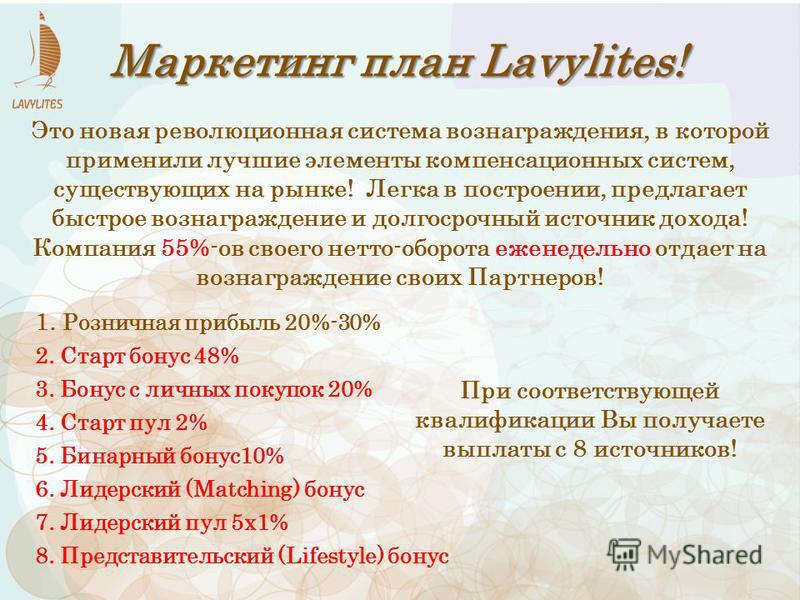 Маркетинг план Lavylites! 1. Розничная прибыль 20%-30% 2. Старт бонус 48% 3. Бонус с личных покупок 20% 4. Старт пул 2% 5. Бинарный бонус 10% 6. Лидерский (Matching) бонус 7. Лидерский пул 5x1% 8. Представительский (Lifestyle) бонус Это новая революц