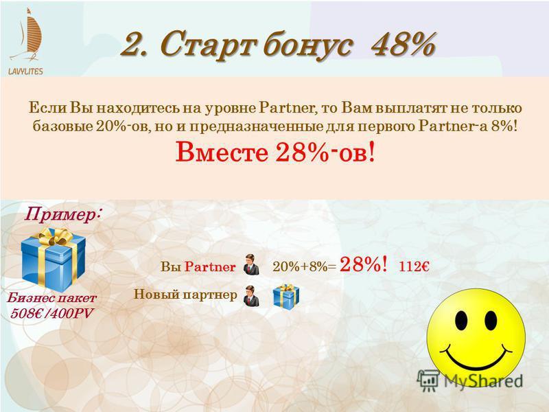 2. Старт бонус 48% Бизнес пакет 508 /400PV Пример: Вы Partner Если Вы находитесь на уровне Partner, то Вам выплатят не только базовые 20%-ов, но и предназначенные для первого Рartner-а 8%! Вместе 28%-ов! 20%+8%= 28%! 112 Новый партнер