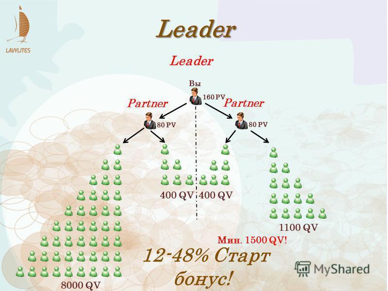 160 PV 80 PV 1100 QV Leader 80 PV 12-48% Старт бонус! Partner 8000 QV 400 QV Leader Mин. 1500 QV! Вы
