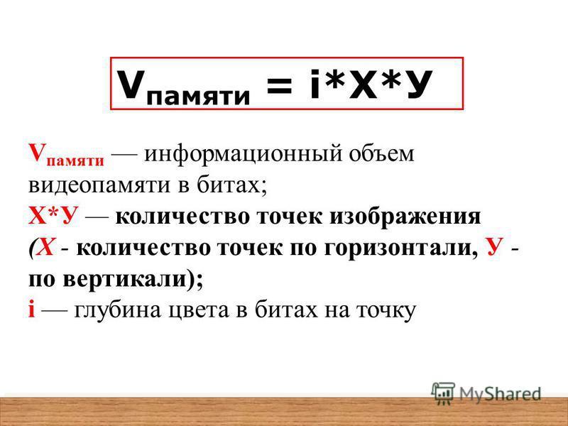 V памяти = i*X*У V памяти информационный объем видеопамяти в битах; X*У количество точек изображения (X - количество точек по горизонтали, У - по вертикали); i глубина цвета в битах на точку