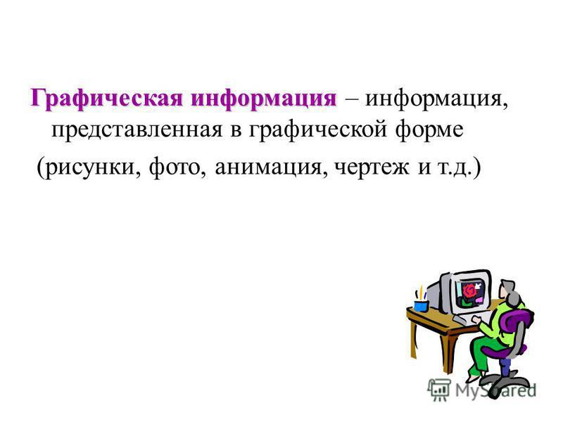 Графическая информация Графическая информация – информация, представленная в графической форме (рисунки, фото, анимация, чертеж и т.д.)
