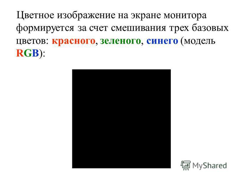Цветное изображение на экране монитора формируется за счет смешивания трех базовых цветов: красного, зеленого, синего (модель RGB):
