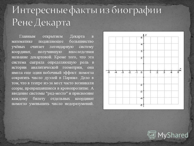 Главным открытием Декарта в математике подавляющее большинство учёных считает легендарную систему координат, получившую впоследствии название декартовой. Кроме того, что эта система сыграла определяющую роль в истории аналитической геометрии, она име