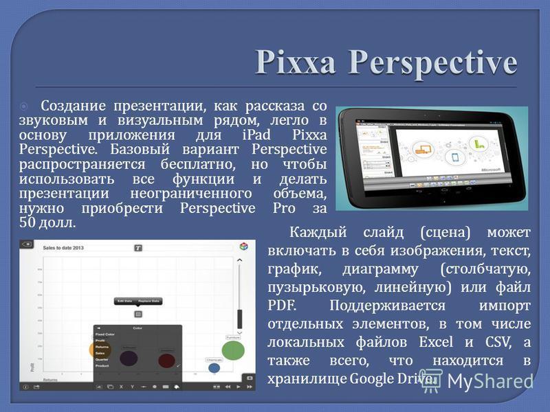 Создание презентации, как рассказа со звуковым и визуальным рядом, легло в основу приложения для iPad Pixxa Perspective. Базовый вариант Perspective распространяется бесплатно, но чтобы использовать все функции и делать презентации неограниченного об
