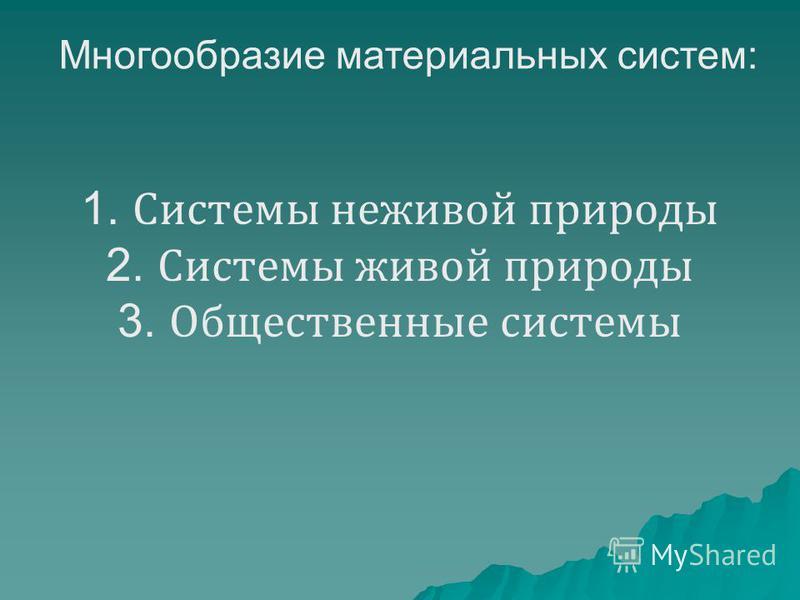 1. Системы неживой природы 2. Системы живой природы 3. Общественные системы Многообразие материальных систем: