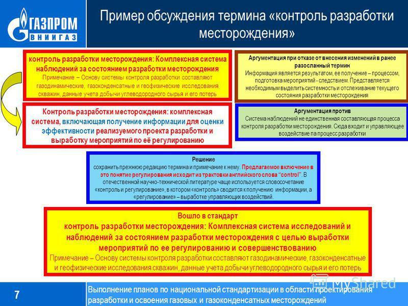 Пример обсуждения термина «контроль разработки месторождения» 7 контроль разработки месторождения: Комплексная система наблюдений за состоянием разработки месторождения Примечание – Основу системы контроля разработки составляют газодинамические, газо