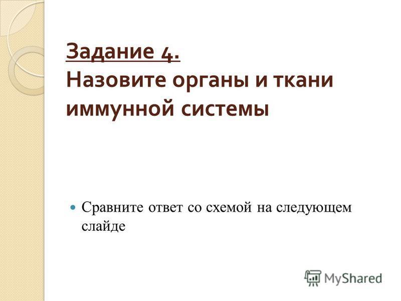 Задание 4. Назовите органы и ткани иммунной системы Сравните ответ со схемой на следующем слайде