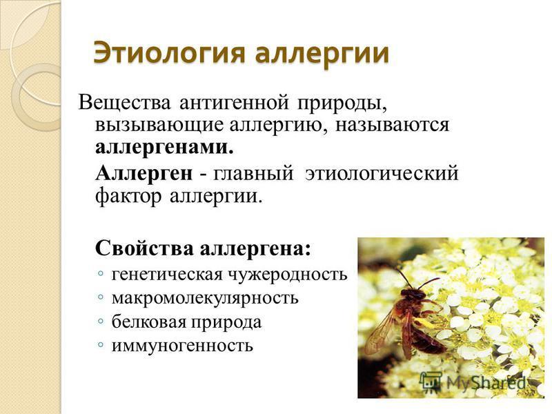 Этиология аллергии Вещества антигенной природы, вызывающие аллергию, называются аллергенами. Аллерген - главный этиологический фактор аллергии. Свойства аллергена: генетическая чужеродность макро молекулярность белковая природа иммуногенность