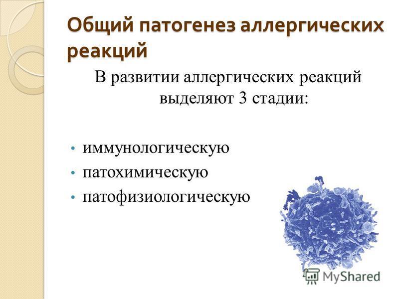 Общий патогенез аллергических реакций В развитии аллергических реакций выделяют 3 стадии: иммунологическую патохимическую патофизиологическую