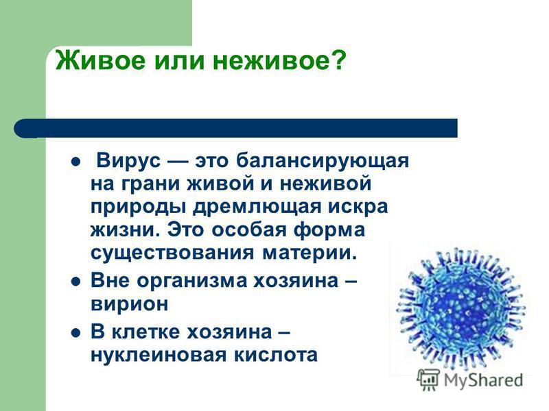 Живое или неживое? Вирус это балансирующая на грани живой и неживой природы дремлющая искра жизни. Это особая форма существования материи. Вне организма хозяина – вирион В клетке хозяина – нуклеиновая кислота