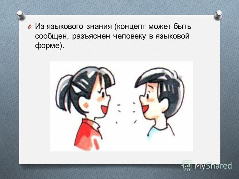 O Из языкового знания ( концепт может быть сообщен, разъяснен человеку в языковой форме ).