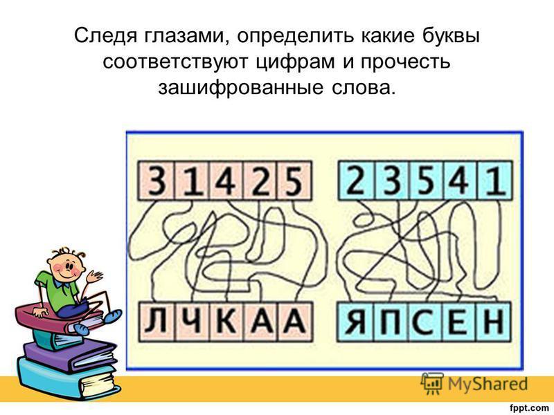 Следя глазами, определить какие буквы соответствуют цифрам и прочесть зашифрованные слова.
