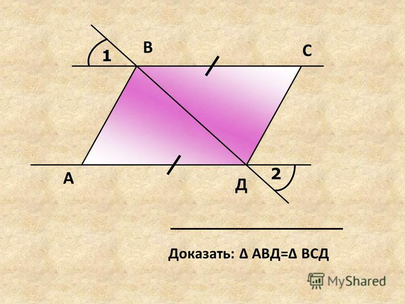 1 2 А В С Д Доказать: Δ АВД=Δ ВСД