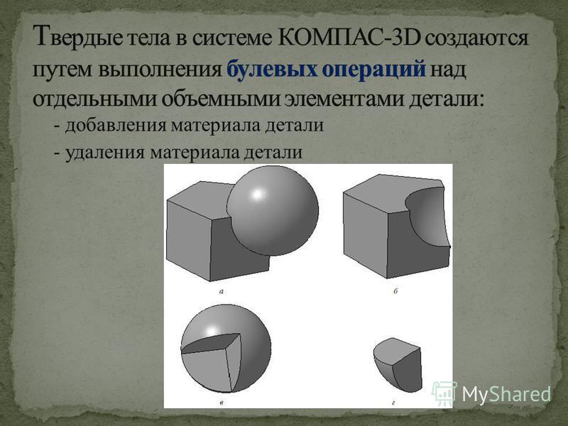 - добавления материала детали - удаления материала детали