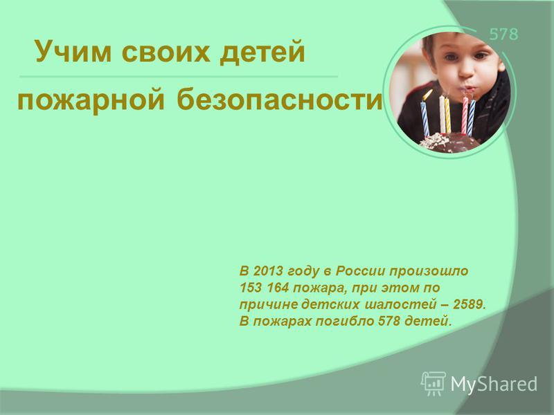 Учим своих детей В 2013 году в России произошло 153 164 пожара, при этом по причине детских шалостей – 2589. В пожарах погибло 578 детей. пожарной безопасности